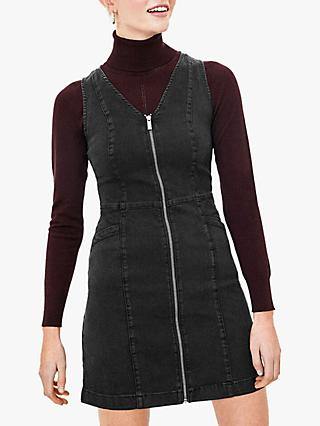 Oasis Zip Front Denim Dress, Black