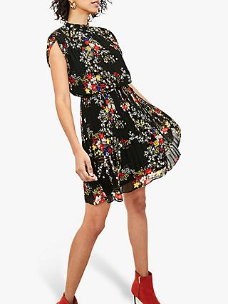 Oasis Floral Pleat Dress, Black/Multi