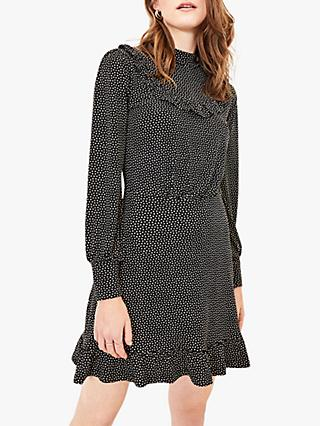 Oasis Ruffle Spot Mini Dress, Black/Multi