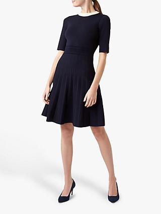 Hobbs Aubrey Knitted Dress, Navy