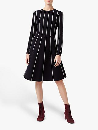Hobbs Malin Knitted Dress, Navy/Ivory