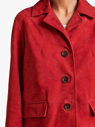 Gerard Darel Gioia Suede Button Front Jacket, Red