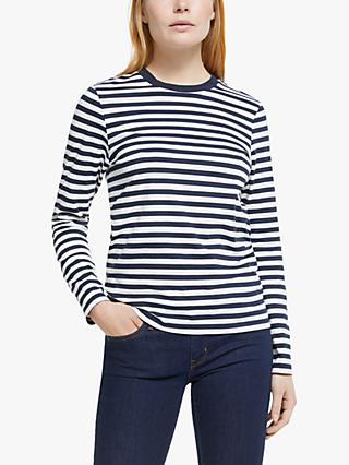 Collection WEEKEND by John Lewis Long Sleeve Breton Stripe T-Shirt, Navy/White