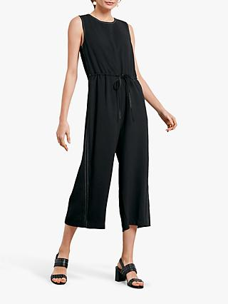 hush Contrast Stitch Jumpsuit, Black/White