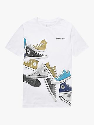 Converse Boys' Stacked Sneakers Print T-Shirt, White