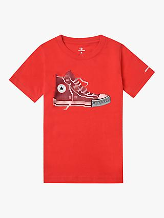 Converse Boys' Pixel Shoe Print T-Shirt, Red