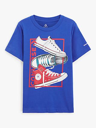 Converse Boys' Stacked Sneakers Print T-Shirt, Blue