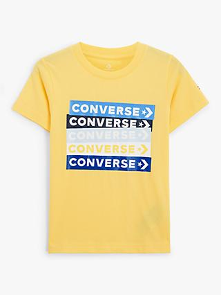Converse Boys' Colour Block Logo Print T-Shirt, Yellow