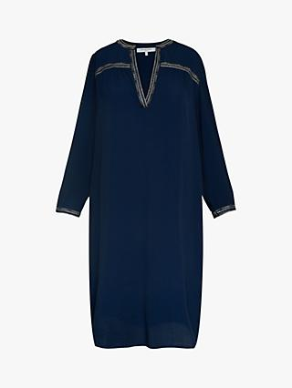 Gerard Darel Embroidered Neck Midi Dress, Navy