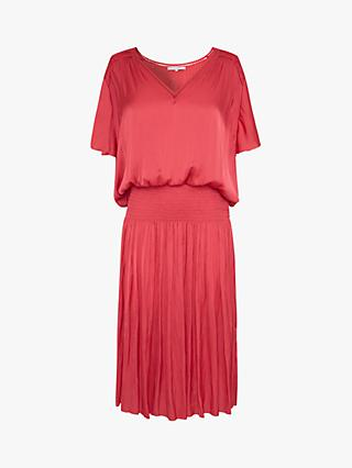 Gerard Darel Solene Smocked Waist Midi Dress, Orange