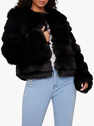 Chi Chi London Iona Faux Fur Coat, Black