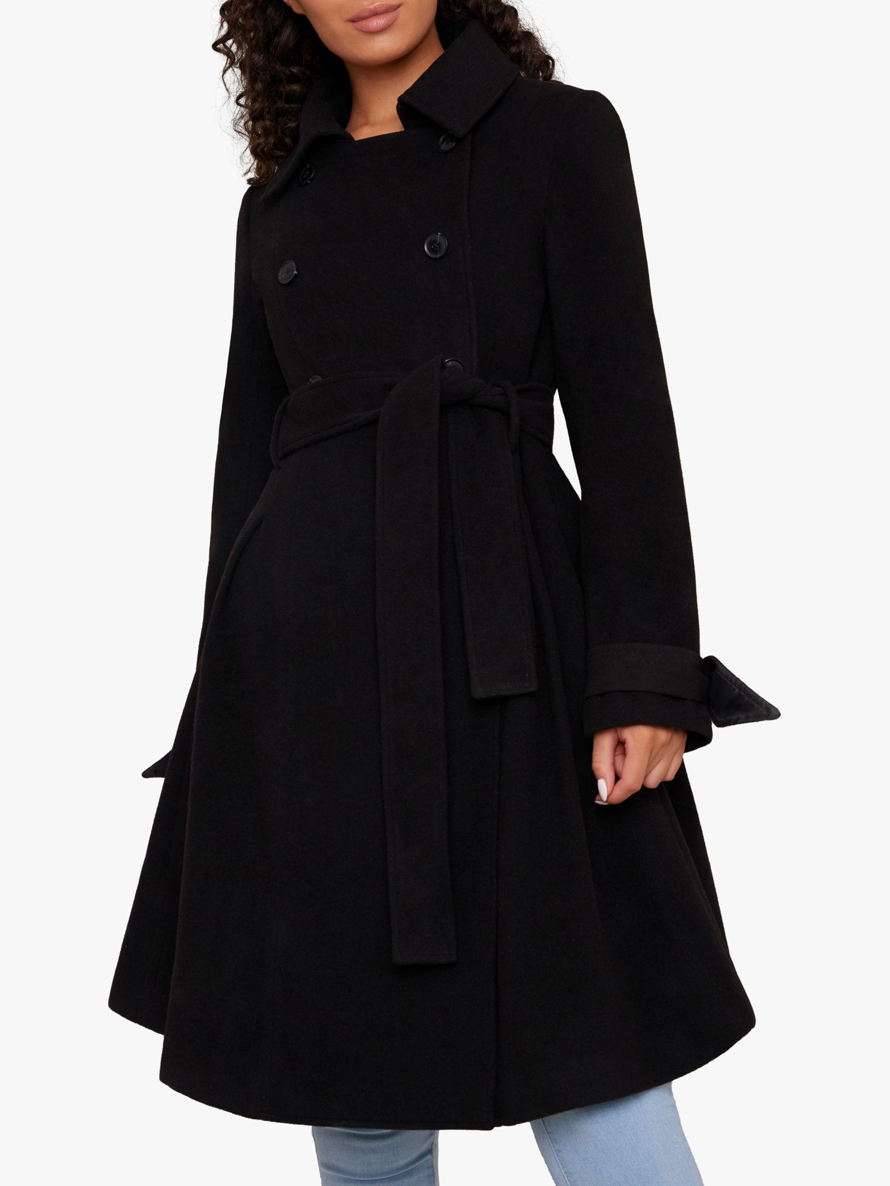 Chi Chi London Chi Chi London Safia Double Breasted Flared Coat, Black