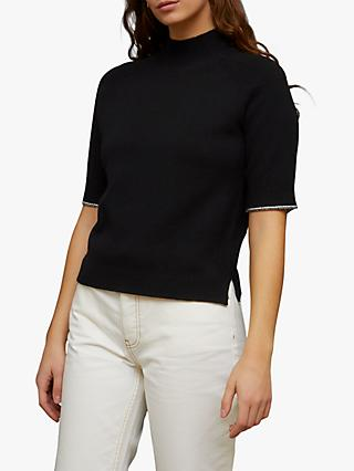 Jigsaw Merino Cashmere Short Sleeve Turtle Neck Jumper, Black
