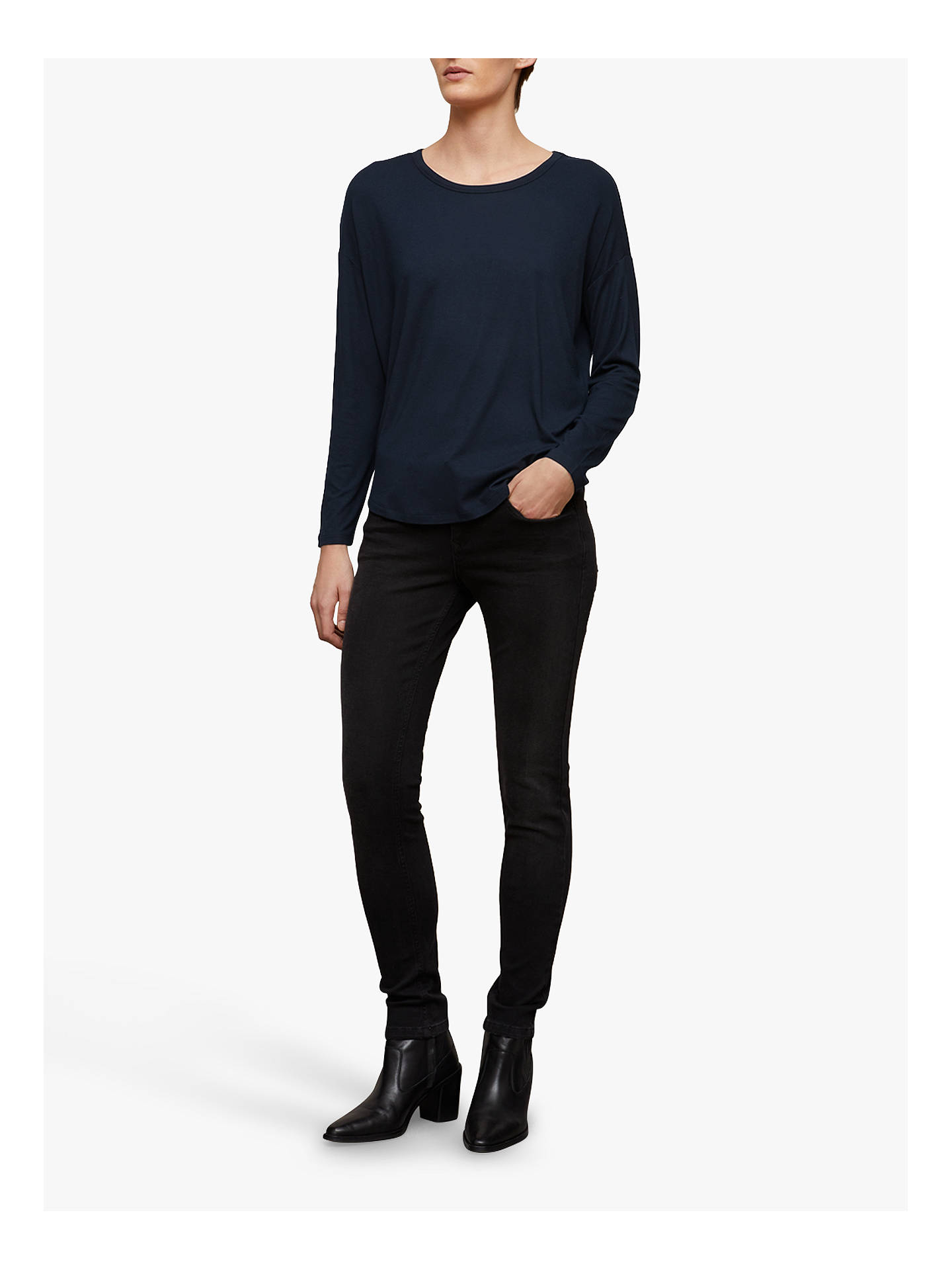 Buy Jigsaw Oversized Long Sleeve Tee, Dark Navy, XS Online at johnlewis.com