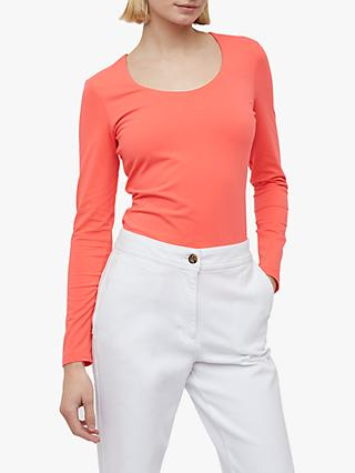 Jigsaw Double Front Scoop T-Shirt, Sunset Pink