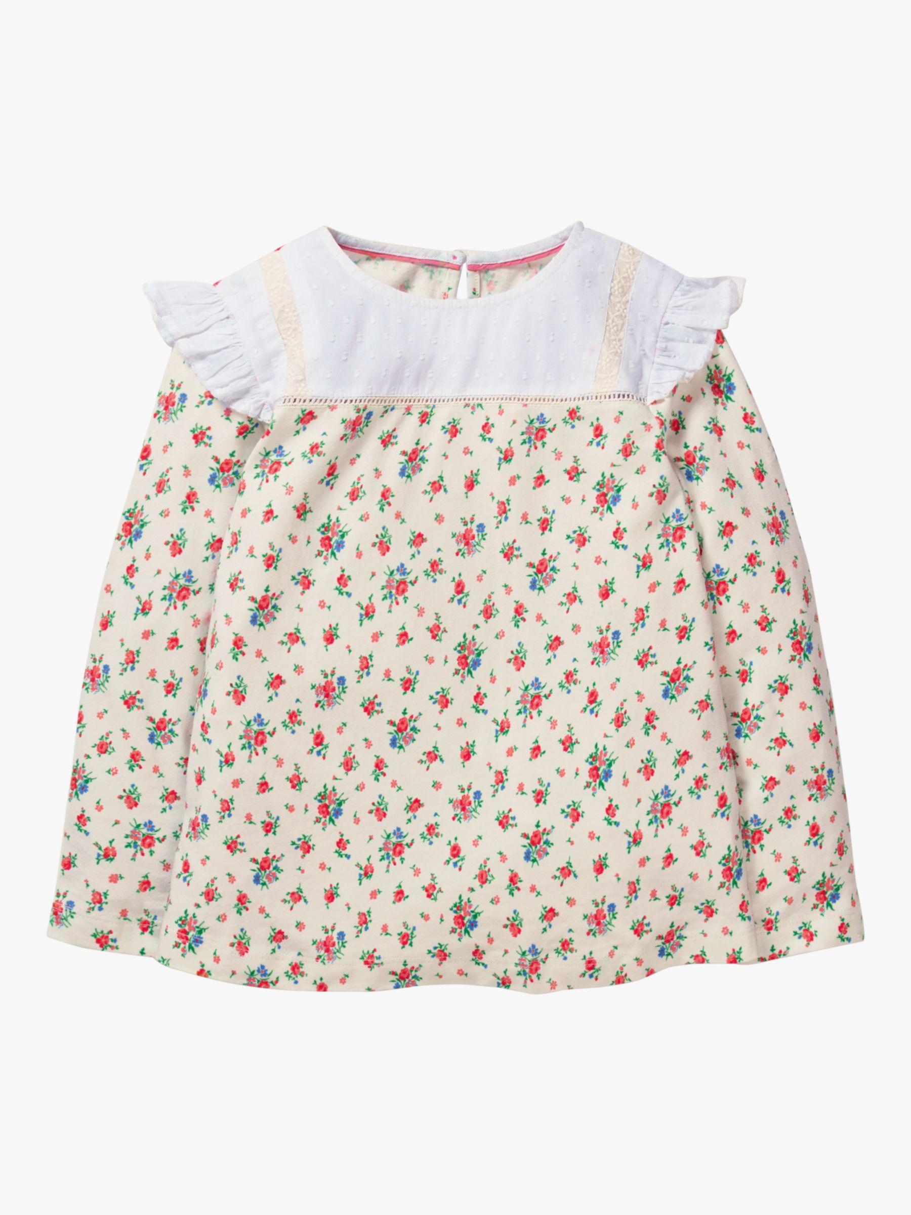Mini Boden Mini Boden Girls' Frilly Jersey Top, Vintage Rose