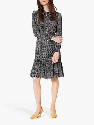 L.K.Bennett Mimosa Bow Print Silk Dress, Navy/Cream
