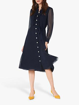 L.K.Bennett Ensor Polka Dot Shirt Dress, Midnight