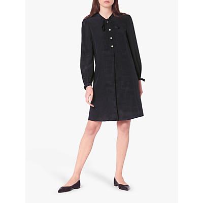 L.K.Bennett Klee Micro Spot Silk Shift Dress, Midnight