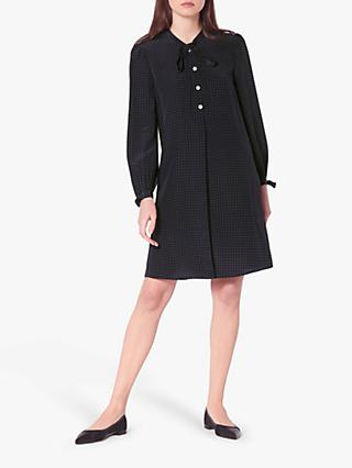 L.K.Bennett Klee Micro Spot Silk Shift Dress, Midnight