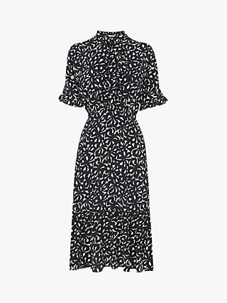 L.K.Bennett Mia Bow Print Silk Dress, Navy/Cream