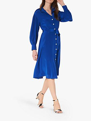 L.K.Bennett Sukey Silk Pleat Neck Shirt Dress, Royal