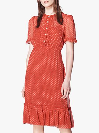 L.K.Bennett Malami Spot Print Silk Dress, Red