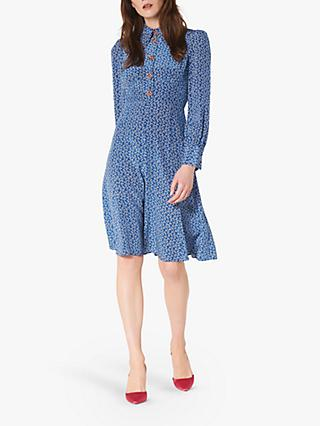 L.K.Bennett Mathilde Bow Print Silk Dress, Blue Multi