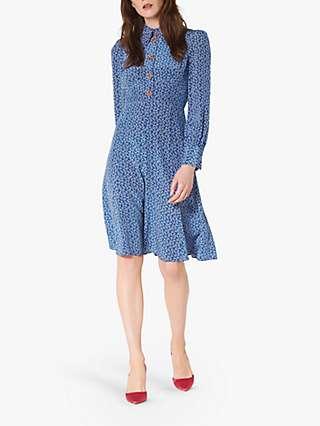 L.K.Bennett Mathilde Bow Print Silk Dress, Blue Multi