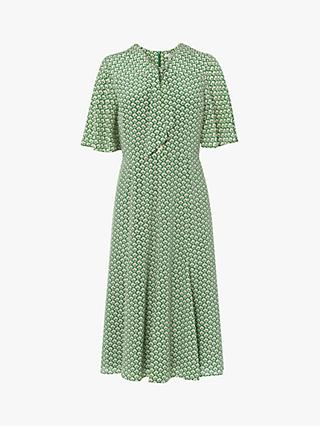 L.K.Bennett Piaf Block Print Silk Dress, Green