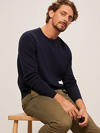 John Lewis & Partners Cotton Cashmere Crew Neck Jumper