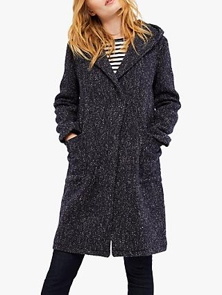 White Stuff Wool Blend Hooded Coat, Navy