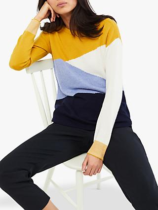White Stuff Horizon Jumper, Blue/Yellow