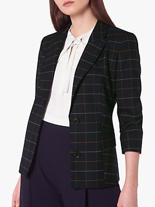 L.K.Bennett Leslie Wool Blend Check Blazer, Midnight