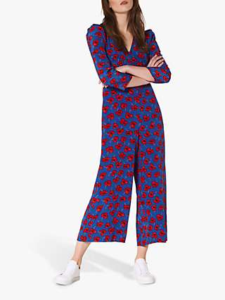 L.K.Bennett Lilou Poppy Print Silk Jumpsuit, Blue/Red