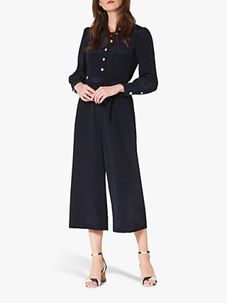 L.K.Bennett Lois Polka Dot Silk Jumpsuit, Midnight