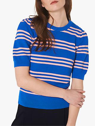 L.K.Bennett Isobel Cotton Stripe Jumper, Blue Multi