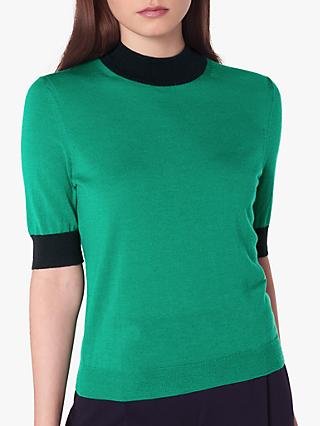 L.K.Bennett Hanna Merino Wool Short Sleeve Knit Jumper, Green/Blue