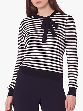 L.K.Bennett Lottie Stripe Tie Neck Jumper, Midnight