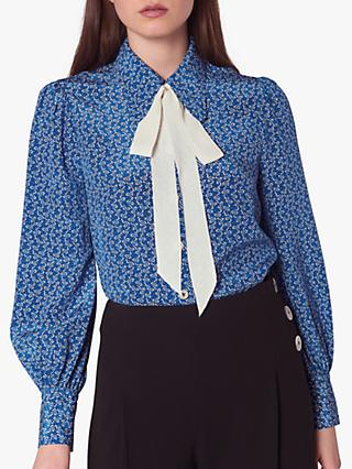 L.K.Bennett Mathilde Bow Print Silk Shirt, Blue Multi