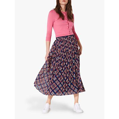 L.K.Bennett Avery Check Pleated Midi Skirt, Multi