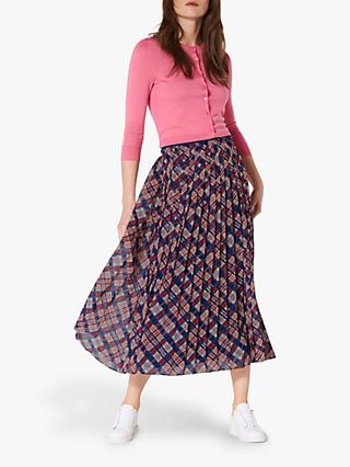 L.K.Bennett Avery Check Pleated Midi Skirt, Multi
