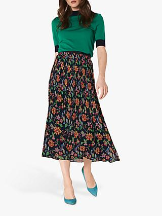 L.K.Bennett Avery Floral Print Pleated Midi Skirt, Midnight