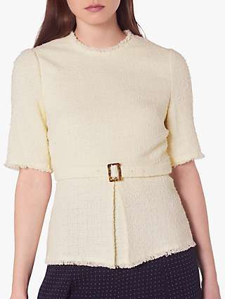 L.K.Bennett Bernice Cotton Blend Crew Neck Blouse, Cream