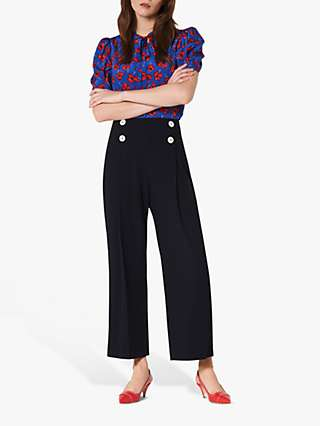 L.K.Bennett Parker Wide Legged Trousers, Midnight