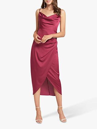 Forever New Holly Satin Cowl Neck Midi Dress, Red Plum