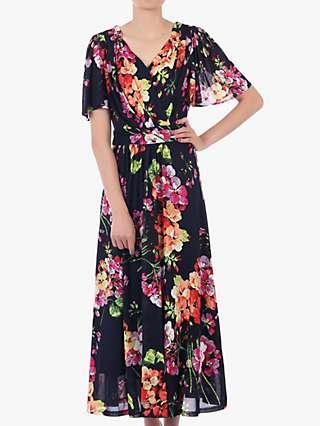 Jolie Moi Floral Print Mesh Maxi Dress, Navy/Multi