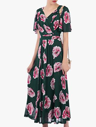 Jolie Moi Floral Print Mesh Maxi Dress, Teal/Multi