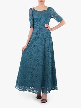 Jolie Moi Floral Lace Tie Back Maxi Dress, Teal