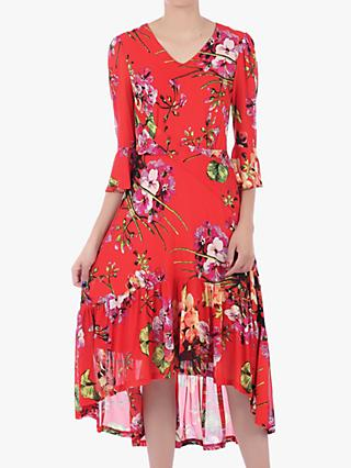 Jolie Moi Floral High Low Mesh Midi Dress, Red
